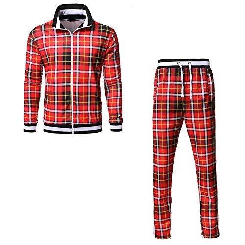 Mens Frühling Herbst Plaid Sportswear Set, Reißverschluss Sweatshirt Anzug Mode Two Piece Set Stand Up Kragen Gerippt Manschette Und Saum red-S
