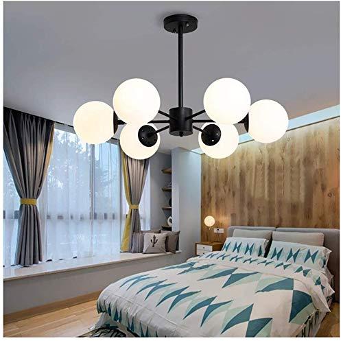 LED 6 koppen glas magische bonen kroonluchter, eenvoudige woonkamer hanger licht slaapkamer decoratie plafond ophanging verlichting Scandinavische restaurant Hang Lamp E27 YZPDD (kleur: zwart-6 koppen)