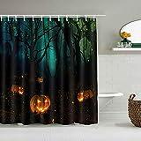 DAHALLAR Duschvorhang,Halloween Kürbis Wald Bäume Firefly,personalisierte Deko Badezimmer Vorhang,mit Haken,180 * 210