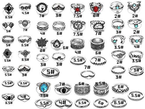 Finrezio Midi Ring Knuckle Set für Damen Mädchen Böhmische Vintage Türkis 58 Stück