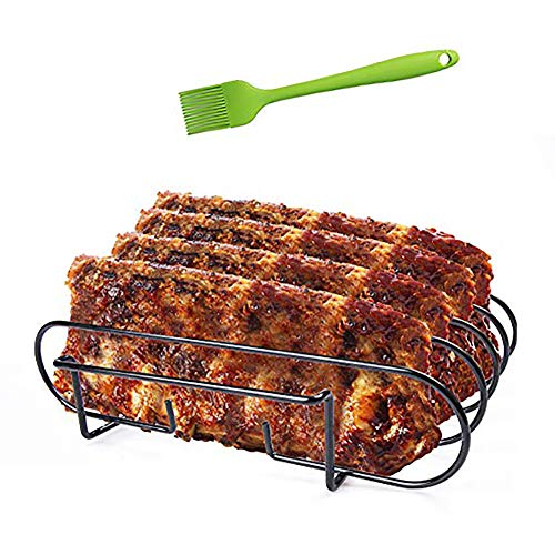 AISHNA Spare Rib Halter BBQ, Braten und Rippchenhalter Edelstahl, beidseitig nutzbar, spülmaschinengeeignet.Q 300/3000 und Gasgrills sowie Holzkohlegrills(Spare Rib Halter BBQ)