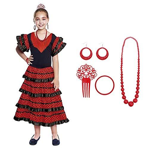 Vestido Sevillanas Niña con Accesorios Flamenca Peineta Collar Pulsera Pendientes Negro【Tallas Infantiles de 1 a 15 años】[7-9 años] Disfraz Sevillana Traje Flamenca Volantes Feria Abril Sevilla Baile