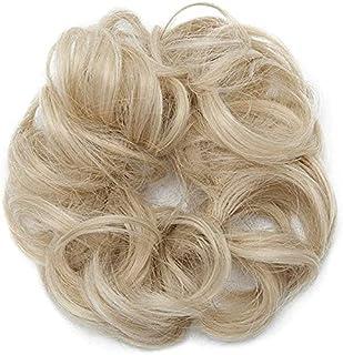 ELECDON Messy Hair Scrunchies Hair Bun Extensions Curly Wavy Hair Pieces Elastic Rubber Band for Women Ponytail Hair Exten...