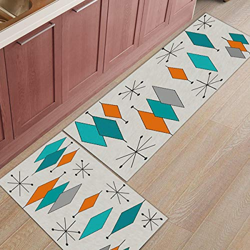 Libaoge Kitchen Rugs and Mats Set of 2 - Mid-Century Modern Diamond Pattern Doormat with Non Skid Rubber Backing Floor Mat Accent Area Runner Indoor Entrance Carpet 19.7'x31.5'+19.7'x47.2'