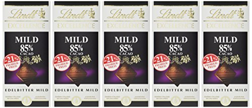 Lindt Excellence Schokoladentafel, milde Edelbitter-Schokolade mit 85% Kakao (vegan, glutenfrei, laktosefrei), Promotion, 5er-Pack, (5 x 100 g)