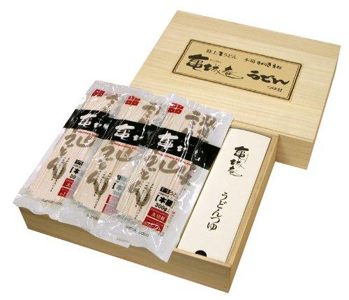 亀城庵 半生讃岐うどん太切麺 300g×8袋 木箱入ギフトセット かけつゆ付