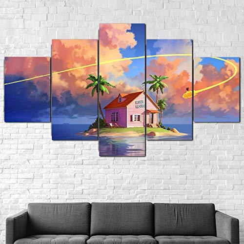 72Tdfc - Cuadro En Lienzo Imagen Impresión Pintura Decoración Cuadro Moderno En Lienzo 5 Piezas XXL 150X80 Cm Enmarcado Murales Pared Hogar Decor Goku Dragon Ball Island Nimbus