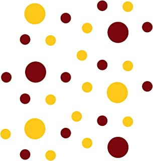 Set of 30 - Circles Polka Dots Vinyl Wall Graphic Decals Stickers (Burgundy/Yellow)