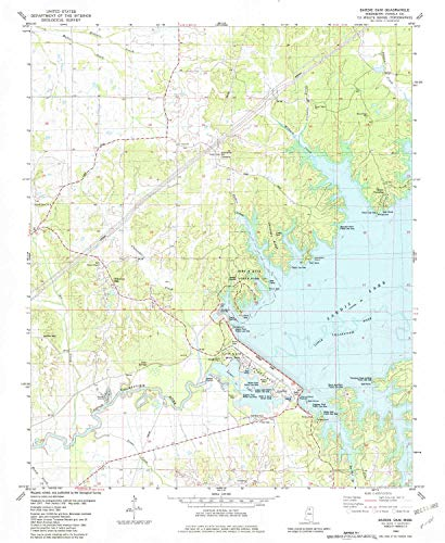 YellowMaps Sardis Dam MS topo map, 1:24000 Scale, 7.5 X 7.5 Minute, Historical, 1982, Updated 1982, 26.8 x 22 in - Paper