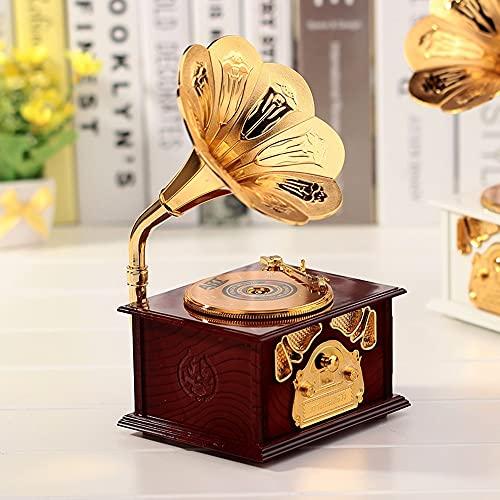 KOXG-S Caja de música para niñas Accesorios de Dormitorio Retro del Fonógrafo Caja De Música Caja De Música Creativa Decoración Personalizada Juguetes para Chicas (Color : Brown)