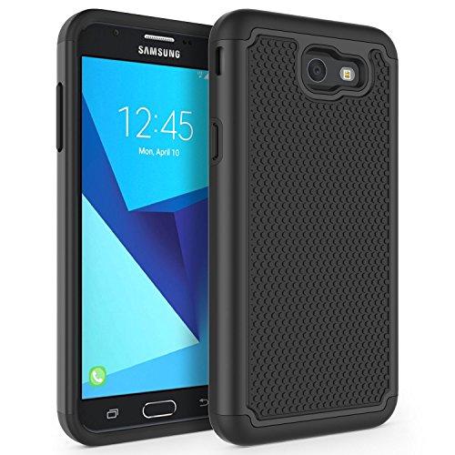 SYONER Shockproof Phone Case Cover for Samsung Galaxy J7 V 2017 (1st Gen)/ Galaxy J7 2017 / Galaxy J7 Prime/Galaxy J7 Perx/Galaxy J7 Sky Pro/Galaxy Halo[Black]