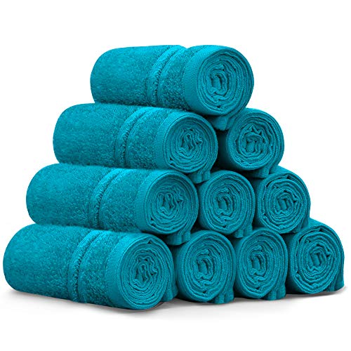 Washcloths - 12' x 12' 100% Cotton Face Towels Soft and High Absorbent Bathroom Towel, Kitchen Towel, and Gym Towel ,10 Pack