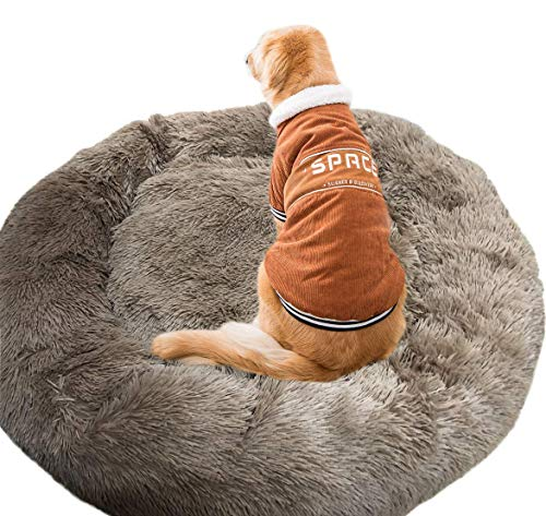 N\C Camas cálidas y esponjosas para Perros extragrandes, Cama Redonda Lavable para Mascotas con Piel calmante para Perros Grandes extragrandes Chen
