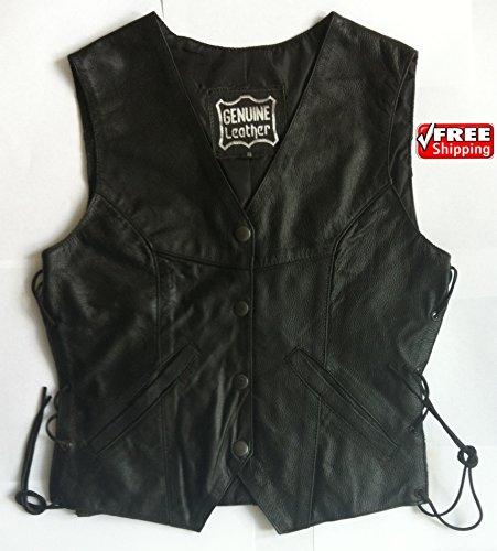 Real Leather Frauen Damen echtes Rindleder Spitze Seite Motorrad Weste Motorrad Biker Fashion Weste, Damen, schwarz