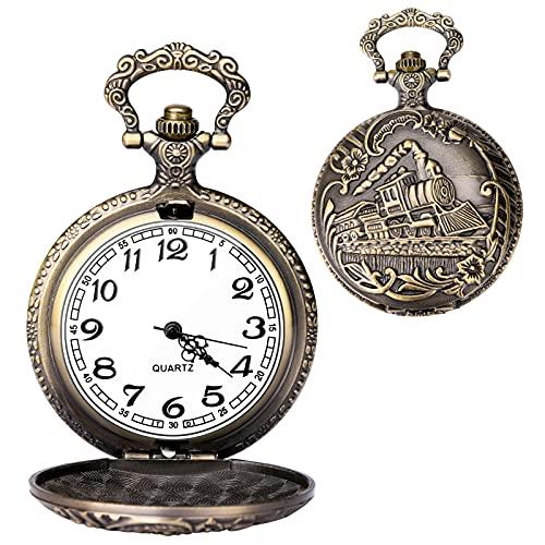 Taschenuhr Vintage Quarz Taschenuhr Klassisch geformt Taschenuhr mit kurzer Kette für Männer Frauen – Geschenk zum Geburtstag, Jahrestag, Weihnachten, Vatertag