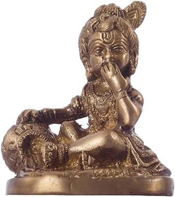 eCraftIndia Antique Finish Laddu Gopal Eating Makhan Brass Showpiece (6 cm x 5 cm x 8, Brown)