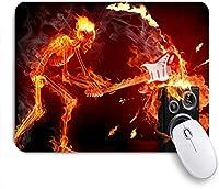 MISCERY マウスパッド ギターミュージックロックバーンスカルスケルトンクールユニークブラックオレンジ 高級感 おしゃれ 防水 端ステッチ 耐久性が良い 滑らかな表面 滑り止めゴム底 24cmx20cm
