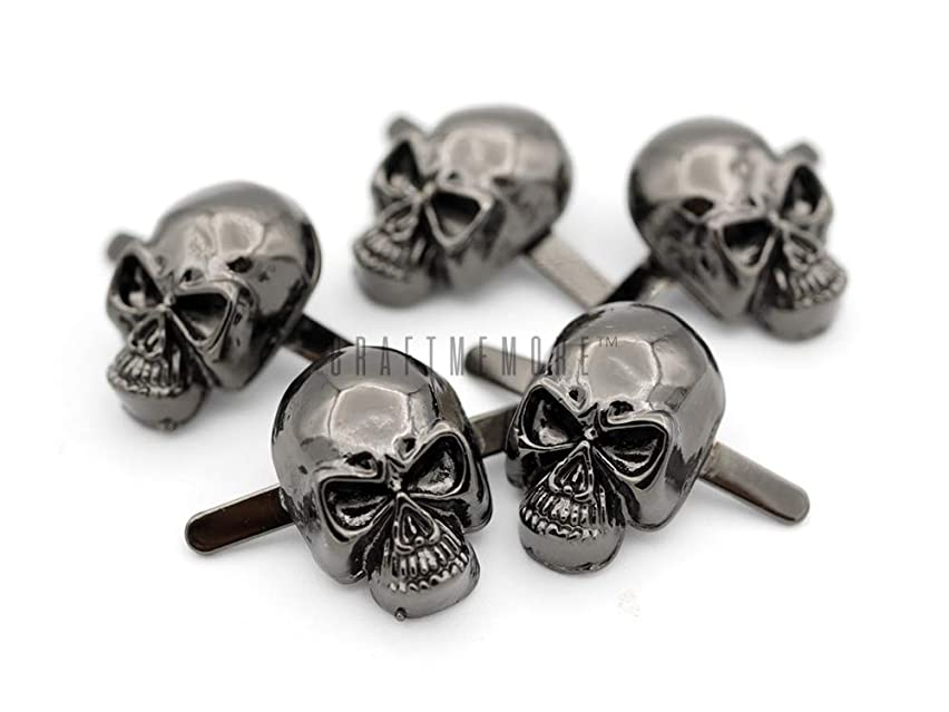 CRAFTMEmore Silver or Gun Black Skull Head Bone Prong Stud Gothic Style Ghost Studs Leather Craft Decorations Pack of 10 (Medium 10 x 15 mm, Gunmetal)