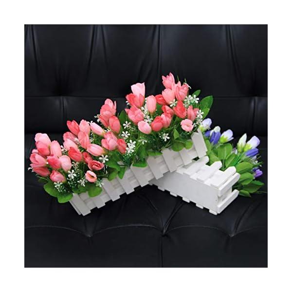 Flikool Tulipanes Artificiales con Cerca de Madera Bonsai de Tulipán Flores Artificiales de Seda Plantas Artificiales en…