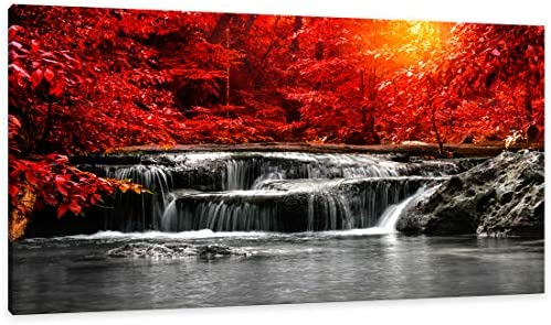 Canvas Wall Art 1 Panel Framed Prints Art Red Waterfall Wall Art Decor Landscape Picture Print product image