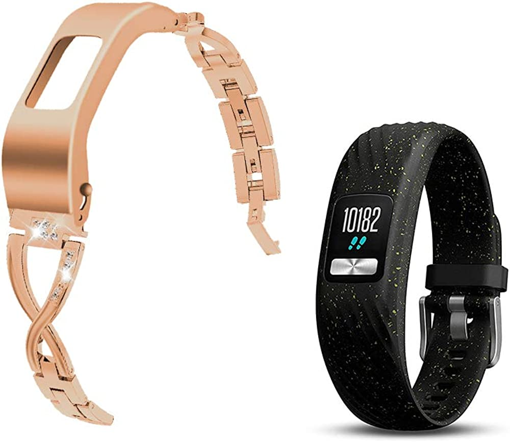 C2D JOY Stylish Steel Strap Compatible with Garmin Garmin vivofit 4 Activity Tracker Bands Replacement Accessory with Metal Case for Women