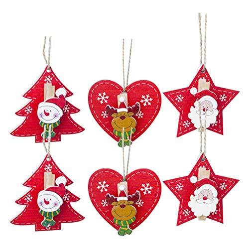 6 piezas de adornos navideños creativos para colgar con clip, colgantes de madera, árbol de Navidad, decoración pintada para colgar (2 piezas de Papá Noel + 2 piezas de alce + 2 piezas de muñeco