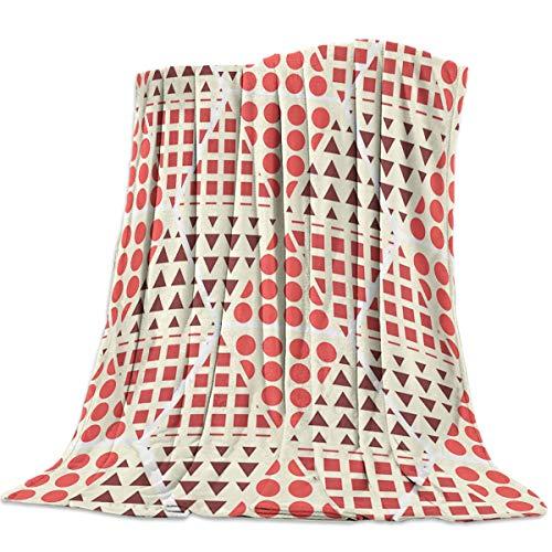 Manta de franela para cama, sofá, silla, triángulo geométrico, redondo, cuadrado, color naranja