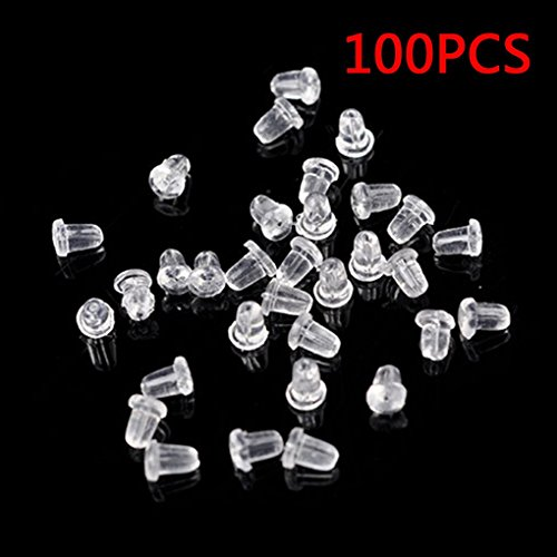 Vkospy 100 Pcs Plastic Earring Safety Back Stopper Replacement for Fish Hook Earring