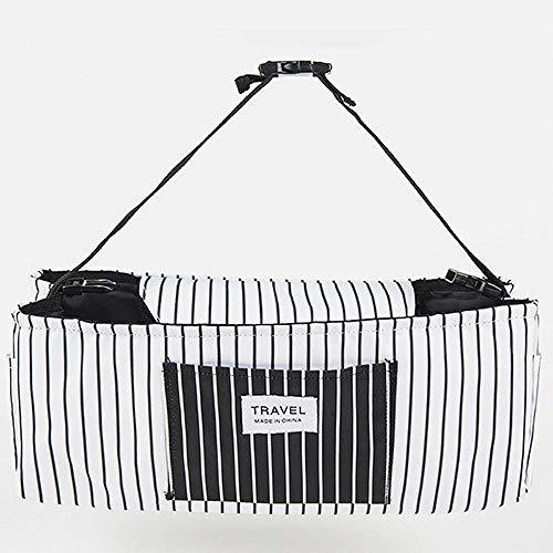 Organizer per passeggino con passeggino, grande capacità per accessori per bambini con 2 portabicchieri e tracolla usati come borsetta-universale per tutti i modelli di passeggini-bianco