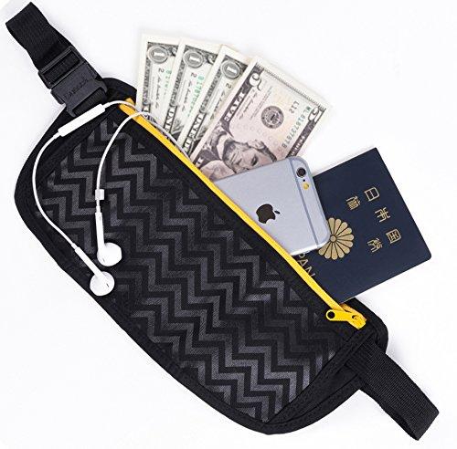 シークレット ウエストポーチ 貴重品入れ セキュリティベルト 海外旅行の盗難防止 スペイン人デザイナーによるおしゃれなポーチ(黄色)