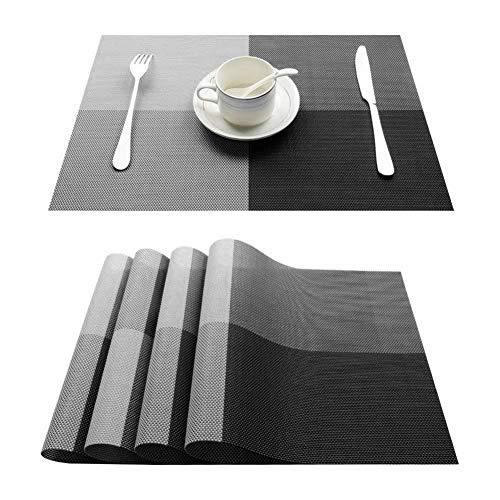 LZFLZ 4 Stücke Tischsets Sets Crossweave PVC Waschbar Durable Esstisch Outdoor 30 * 45 cm Dekoration (Color : Black)