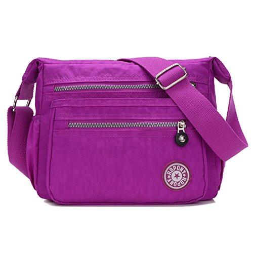 Howoo Nylon Beiläufig Multi-Taschen Schultertasche Handtasche Bote Umhängetasche Reise Geldbörse für Frauen/Mädchen helles Lila