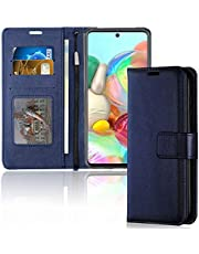 TECHGEAR Case, Galaxy A71 hoes lederen etui, flip beschermhoes met portemonnee kaarthouder, standaard en polsband - Blauw PU-leer met magnetische sluiting hoesje voor Samsung Galaxy A71
