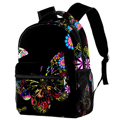 Black Butterfly Backpack for Teens School Book Bags Travel Casual Daypack