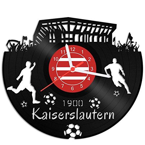 GRAVURZEILE Schallplattenuhr Kaiserslautern - 100% Vereinsliebe - Upcycling Design Wanduhr aus Vinyl Made in Germany