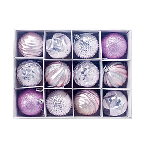 Fiauli 12 bolas de Navidad colgantes de 5,5 cm, bolas de purpurina coloridas, ligeras y pequeñas, para árbol de Navidad, para colgar en casa, oficina, color rosa