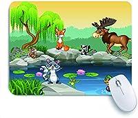 ECOMAOMI 可愛いマウスパッド 美しい自然の背景に漫画面白い動物コレクション 滑り止めゴムバッキングマウスパッドノートブックコンピュータマウスマット