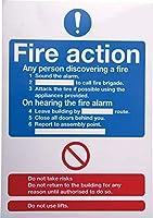 RS PRO 火災安全標識 Fire Action Instructions ビニール 青/赤/白 148 x 210mm 7631963