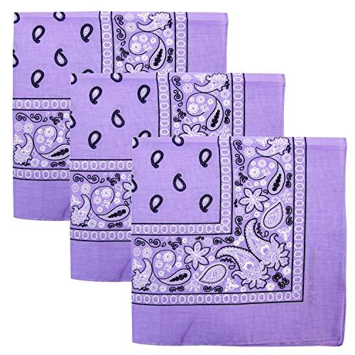 3 PK Cowboy Bandanas 100% Cotton 22 x 22 inch - Lavender