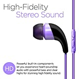 NEM Universal in-Ear Earbuds Headphones Sweatproof Stereo Bass with Microphone/Playback Control, for iPhone, iPod, iPad, Samsung, Huawei, LG, Android Smartphone, Tablets, MP3 Players (Purple)