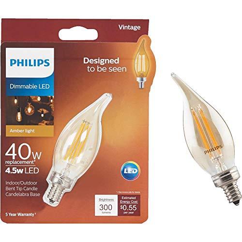 Philips LED Dimmable BA11 Vintage Bulb: 300-Lumens, 2000-Kelvin, 4.5 (40-Watt Equivalent), E12 Candelabra Base, Amber Light, 4-Pack, Title 20 Compliant, 537613, White, 4 Piece