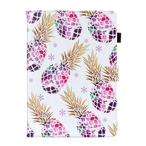 Folio Case for iPad 10.2 7th Gen/iPad Air3 2019/iPad Pro 10.5, Techcircle Smart Stand Folio Magnetic Book Cover Soft Silicone Back Water-Safe Leather Protective Case, Auto Sleep/Wake, Purple Pineapple
