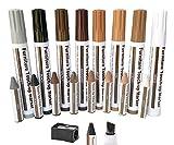 Kit de reparación de marcadores de retoque de muebles, 17 bolígrafos de reparación de arañazos de madera y palos de cera con sacapuntas para arañazos, manchas, suelos de madera dura, mesas