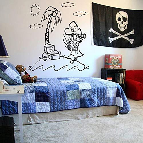 Tatuajes De Pared Nursery Dormitorio Decoración Para El Hogar Mapa Del Pirata Treasure Gold Island Vinilo De Dibujos Animados Etiqueta De La Pared Para Niños Habitación Adolescente 42 * 46 Cm