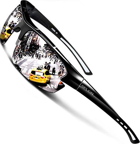 SIPLION Herren Sonnenbrille UV400 Schutz Polarisiert Superleichtes Rahmen 502 Silber