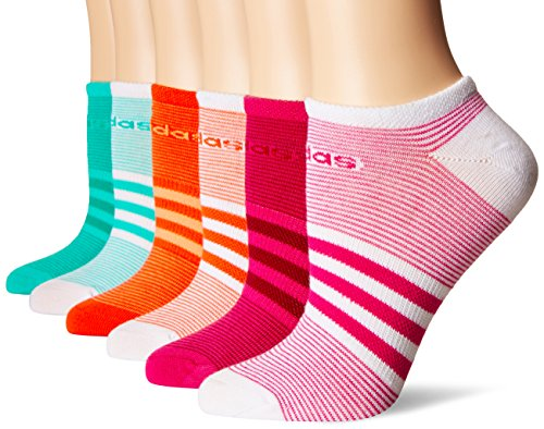 adidas Women's Superlite No Show Socks (6-Pack), Bahia Magenta/Mystery Ruby/Easy Coral/Sun Glow/Bright Green/Core Green/White, Women's Sock size (5-10)