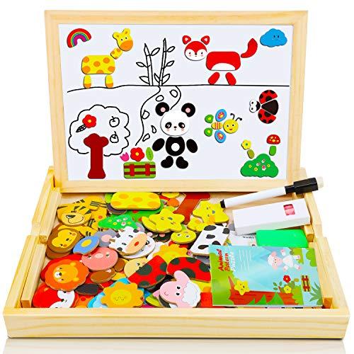 COOLJOY Puzzles de Madera Magnético, Tablero de Dibujo de Doble Cara, Puzzles Rompecabezas Magnéticos de Madera para Niños Niñas Juguete Educativo (Animales)