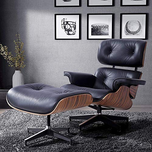 Mecor Eames Lounge Chair with Ottoman, Mid Century Palisander Chair, 100% Grain Italian Leather Recliner Chair with Heavy Duty Base Support for Living Room (Black)