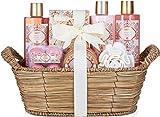 BRUBAKER Cosmetics Set de Baño y Ducha'Apricot & Pomegranate' - Fragancia Albaricoque y Granada - Juego de regalo de 11 piezas en cesta de mimbre
