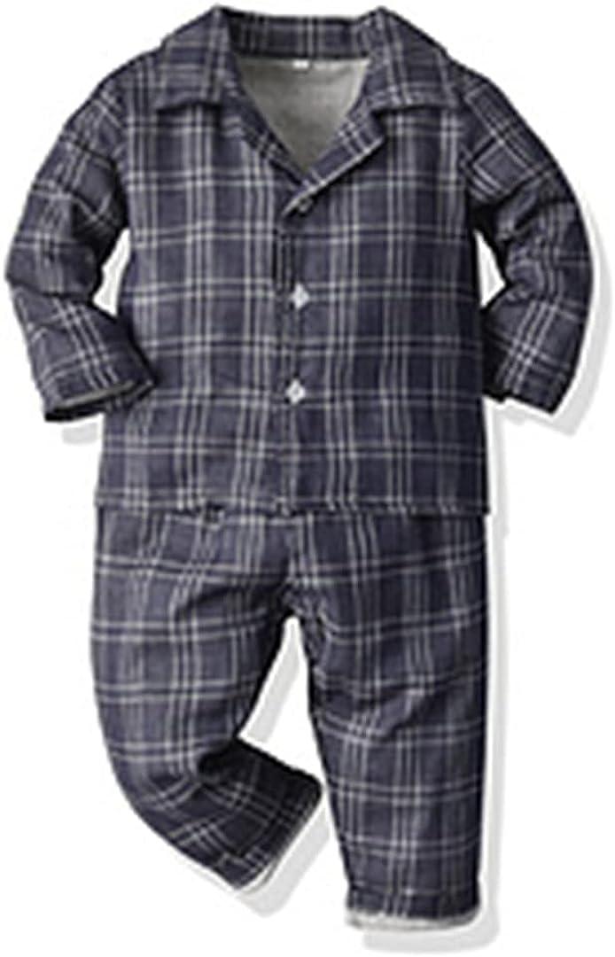 Autumn Winter Kids Pyjamas Sets Long Sleeve Tops+Pant Plaid Sleepwear Boys Girls Pajama Sets Navy Blue 9M